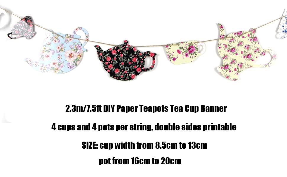Tea Party Paper Banner