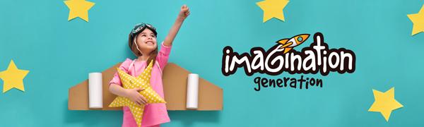 Kid in rocket ship costume next to Imagination Generation logo.