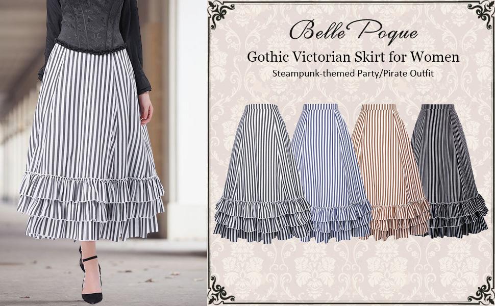 Medieval Women High Waist Pirate Skirt Steampunk Cosplay Costume Gothic Dress
