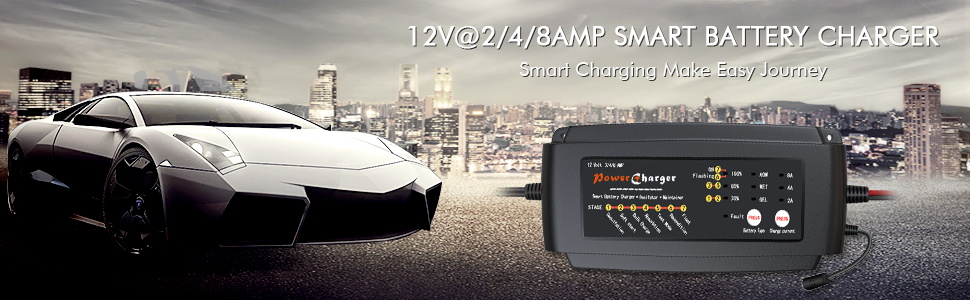 12@2/4/8AMP SMART BATTERY CHARGER