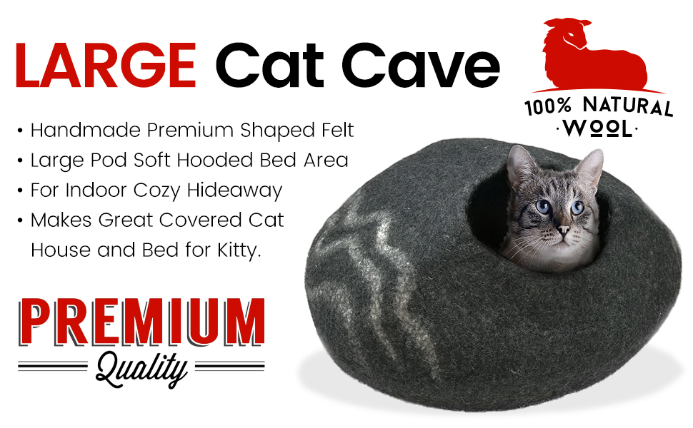 for Indoor Cozy Hideaway 100/% Natural Wool Large Cat Cave Handmade Premium Shaped Felt Makes Great Covered Cat House and Bed for Kitty Large Pod Soft Hooded Bed Area.