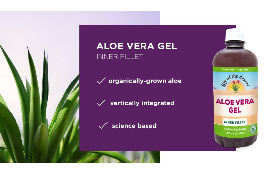 aloe vera gel inner fillet moisture gluten free non-gmo