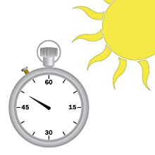 A stop-watch with a one-minute clock face plus a sun