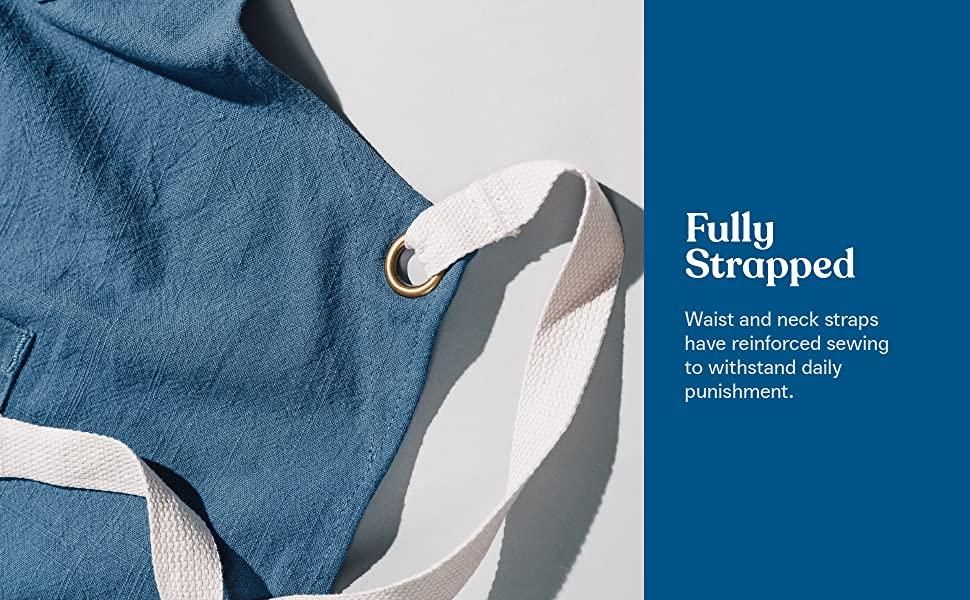 caldo linen apron reinforced straps