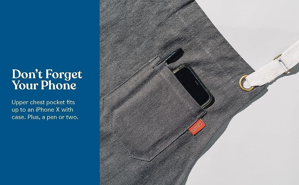 caldo linen apron phone pocket