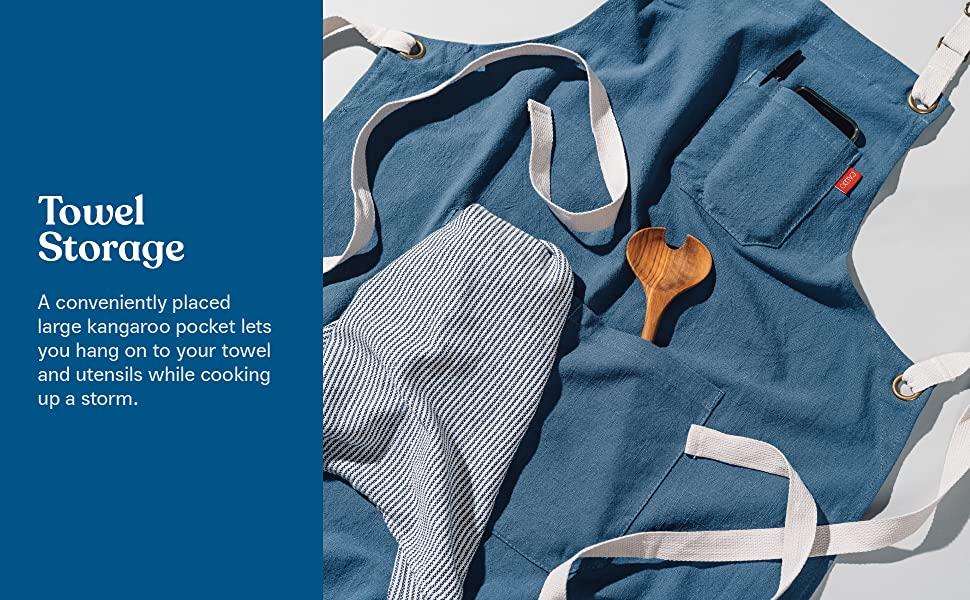 caldo linen apron big kangaroo pocket