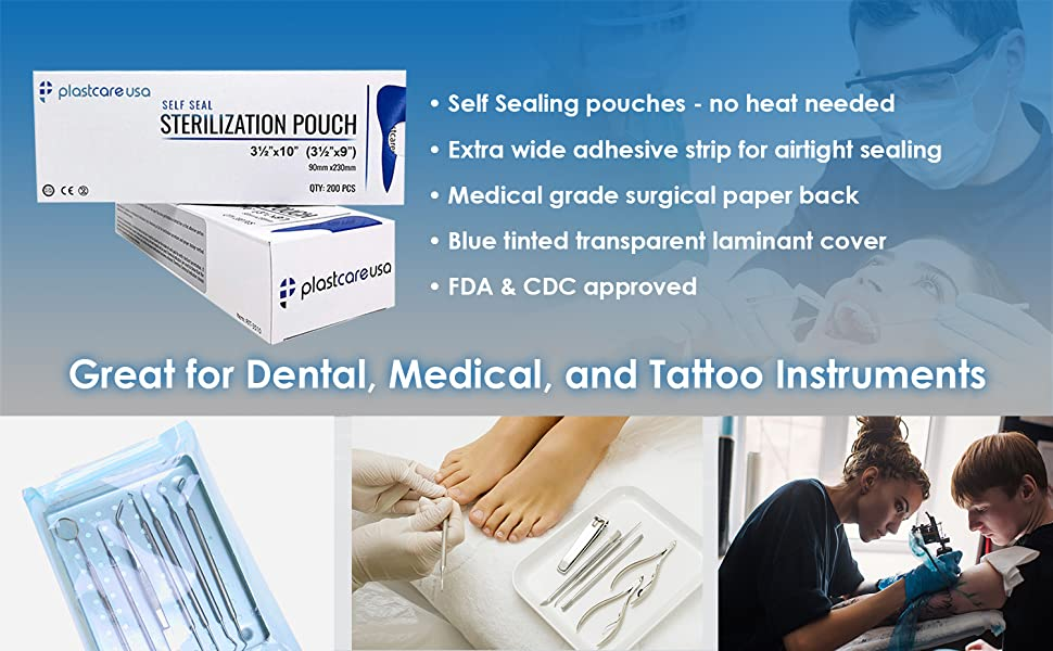 sterilizsation pouch self sealing medical grade fda cdc approved