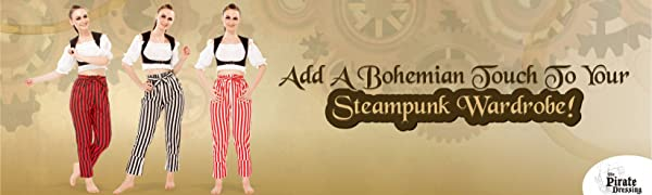 Pirate Renaissance Medieval Gothic Wench Cosplay Costume Women's 100% Cotton Striped Pants