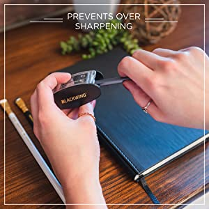 """Blackwing Long Point Pencil Sharpener being used over a Slate Journal, """"prevents over sharpening"""""""