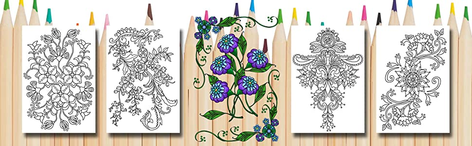 Flowers coloring greeting cards