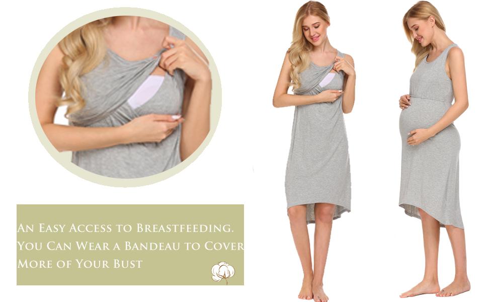 Ekouaer Women's Breastfeeding/Nursing Night Dress
