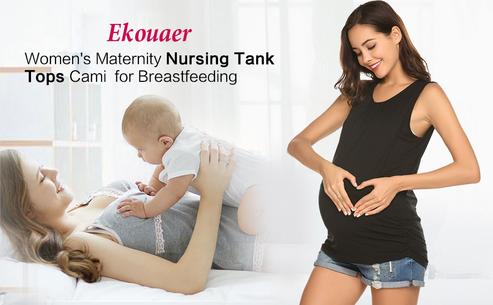 Ekouare Maternity Nursing Tank Tops Cami for Breastfeeding