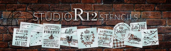 StudioR12 Stencils for Crafters Artists DIY Home Decor Seasonal Wall Sign Gift Template Multimedia