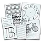 StudioR12 Pattern Stencils, plaid lettering clock chicken wire line bicycle art