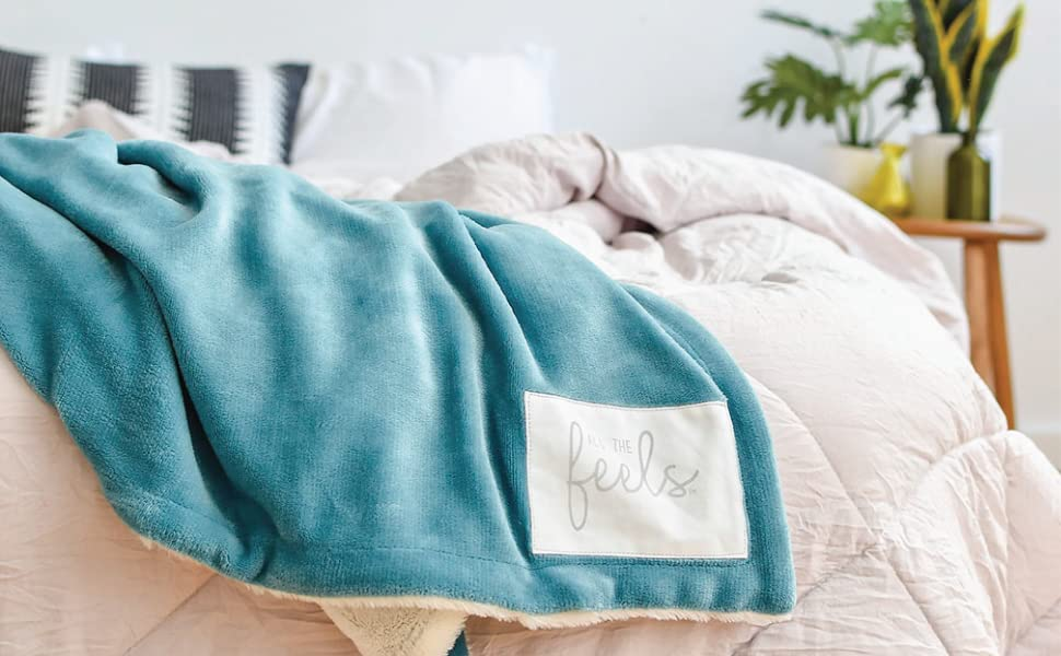 All the Feels Blanket Bedding Soft Cozy Fuzzy Warm Throw Velvet Faux Fur Heavy blue teal give back