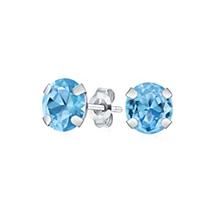 Round Natural Blue Topaz Stud Post Earrings in 14K White Gold