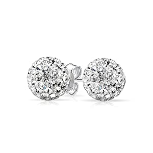 Unique Shamballa Inspired White Crystal Stud Earrings
