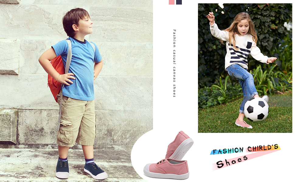 Boys Girls Canvas Sneakers Casual COMFORT Easy on Lace-Up Tennis Shoes Toddler Little Kid Sizes