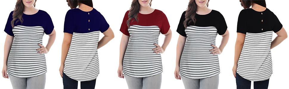 Nemidor Women's Stripe Contrast Round Neck T Shirts Plus Size Casual Top