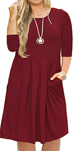 Nemidor Women's Casual 3/4 Sleeve Pleated Plus Size T Shirt Dress Pockets