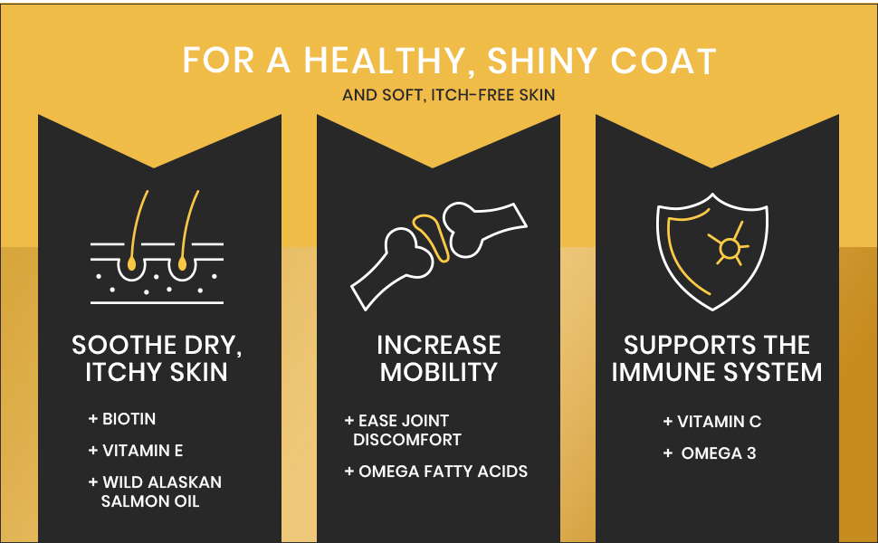 Skin and coat for dogs, omega 3 for dogs