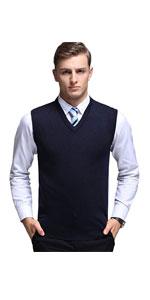 Basic Slim Fit V-Neck Pullover Sweater Vest Wool Blend Knit Vest