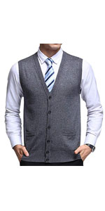 Basic Solid V-Neck Wool Sweater Vest Knitwear with Button Front Pockets
