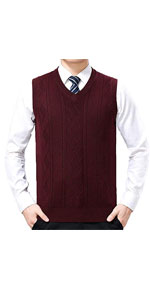 Lightweight Wool Slim Fit Pullover Cable Knit Sweater Vest