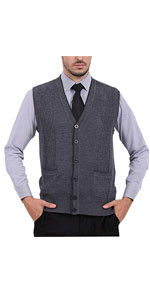 V-Neck Button Down Cashmere Wool Blend Vest Knitwear Sweater Waistcoat