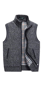Stand Collar Zipper Sweater Vest Knitted Sleeveless Jacket Cardigan