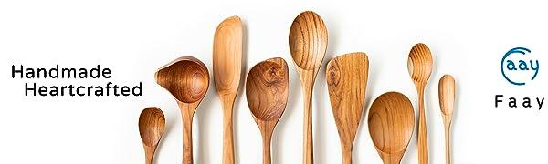 Faay wooden utensil wood spoon spatula turner slotted ladle longleaf corner rice mini paddle soup