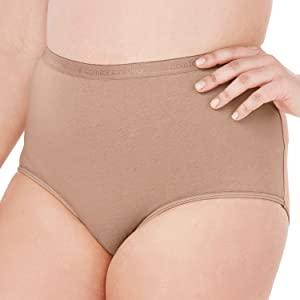 5 pack nylon tricot knit full cut brief elastic waist no tag silk smooth cotton panel