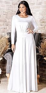 Womens Long V-Neck Full Sleeve Semi Formal Flowy Evening Cute Maxi Dress