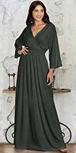 Womens Long Sleeve Semi Formal Fall Winter Flowy Gown Maxi Dresses
