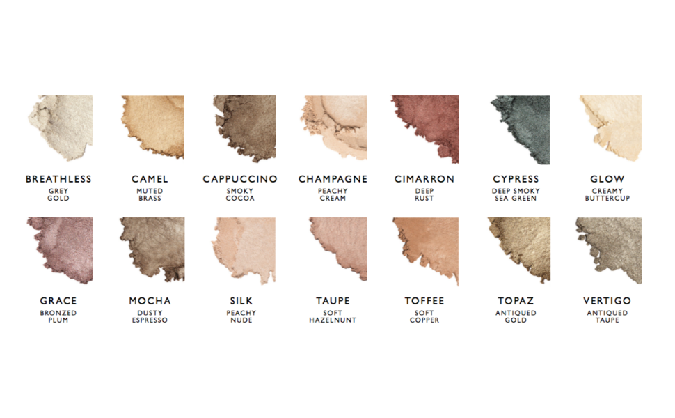 Pearluster Eyeshadow in 15 colors by Alima Pure