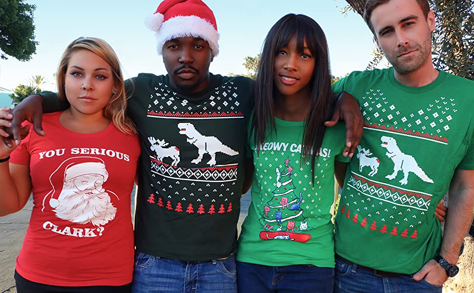 christmas lifestyle image ugly christmas sweater tees