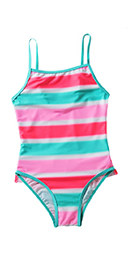 Girls Colorful Stripe One Piece Swimsuits