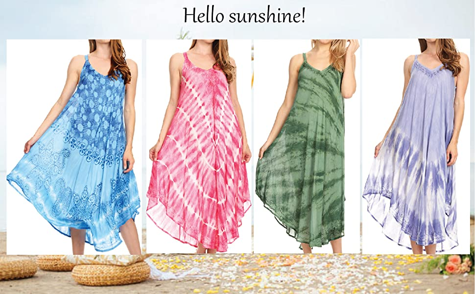 Cover-up ethnic swing lightweight tie dye long dress swimwear beach shift dress pullover strap  midi