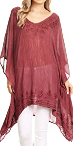 Short sleeve pullover swing loose summer casual lightweight caftan tunic cover-up loose asymmetrical