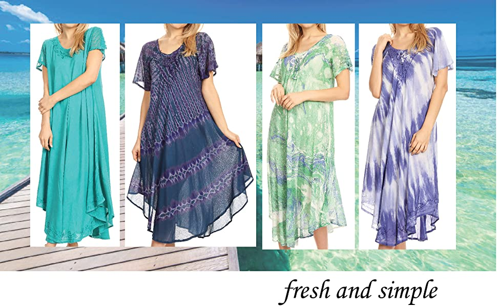sundress caftan cover-up pullover short sleeve tie dye loose beach high low maxi long casual summer