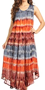swing dress A-line sundress beach cover-up tank dress boho summer sleeveless  caftan casual maxi