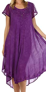 Kaftan caftan casual maxi short sleeve long dress bohemian summer beach Cover-up swing lightweight