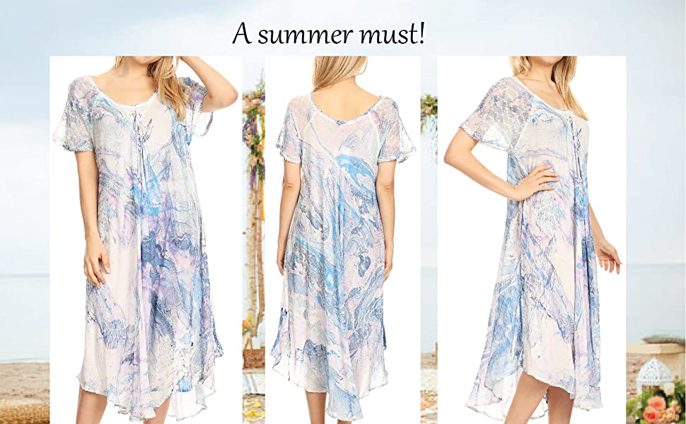 summer casual short sleeves caftan cover-up pullover maxi long tie-dye loose flared high-low print