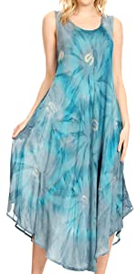 sundress caftan cover-up pullover sleeveless tie dye loose beach high low maxi long casual summer