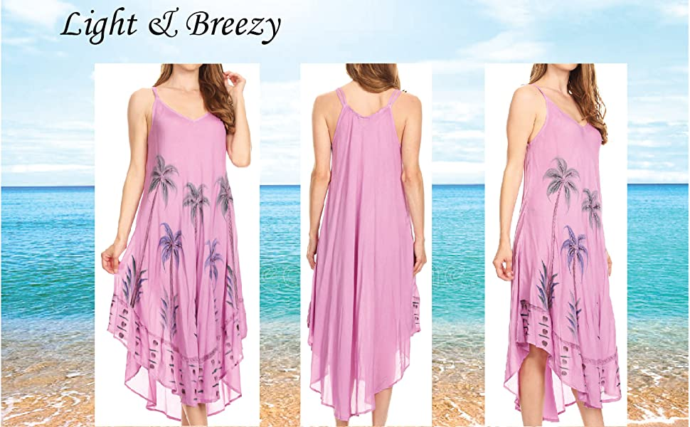 summer floral boho spaghetti strap swing midi dress   A-line sundress beach party casual cover-up