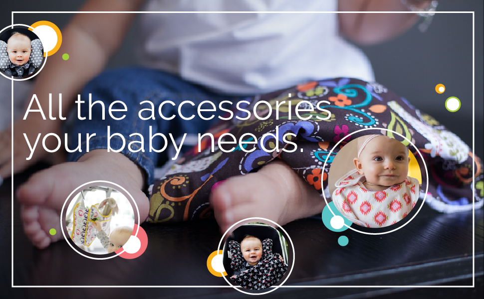 "Babies using a pillow, bib, blanket, & stroller bag with text ""All the accessories your baby needs."""