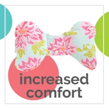 "Blue minky baby neck support pillow with text ""increased comfort."""