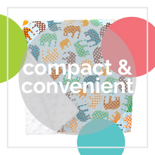 A Baby Elephant Ears blanket with elephants with tex: compact & convenient.