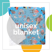 A pirate pattern blanket by Baby Elephant Ears with text: unisex blanket.
