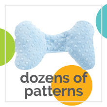 "White baby neck support pillow with text ""dozens of patterns."""